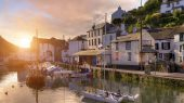 Sunrise at the cornish fishing village of Polperro, England.