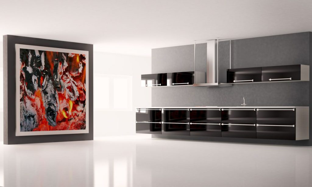 Modern kitchen with big picture on the wall interior