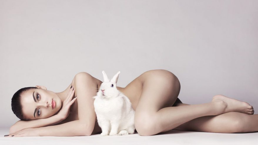 Studio fashion photo of naked elegant lady with white rabbit
